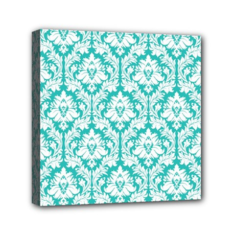 White On Turquoise Damask Mini Canvas 6  X 6  (framed) by Zandiepants