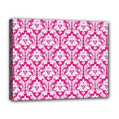 White On Hot Pink Damask Canvas 14  X 11  (framed) by Zandiepants