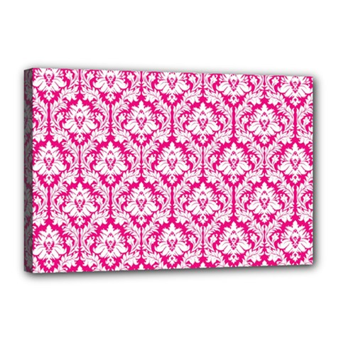 White On Hot Pink Damask Canvas 18  X 12  (framed) by Zandiepants