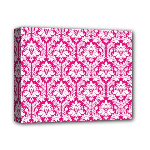 White On Hot Pink Damask Deluxe Canvas 14  x 11  (Framed) by Zandiepants