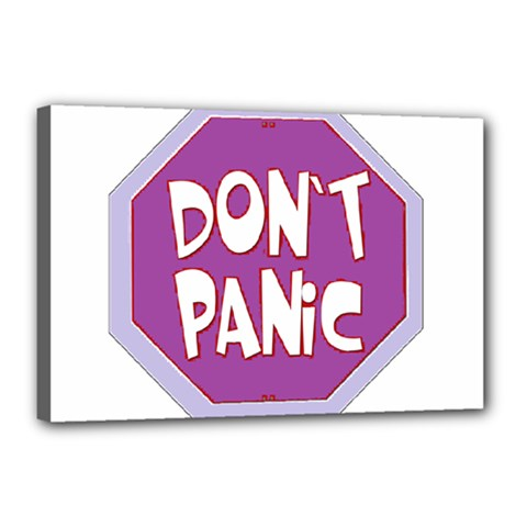 Purple Don t Panic Sign Canvas 18  X 12  (framed) by FunWithFibro