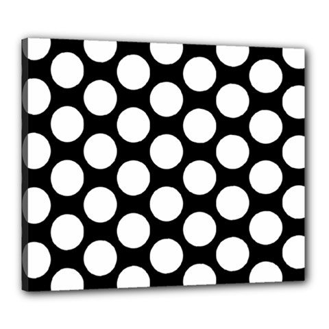 Black And White Polkadot Canvas 24  X 20  (framed) by Zandiepants