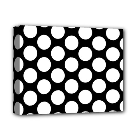 Black And White Polkadot Deluxe Canvas 14  X 11  (framed) by Zandiepants