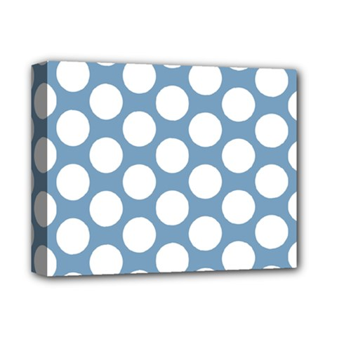 Blue Polkadot Deluxe Canvas 14  X 11  (framed) by Zandiepants