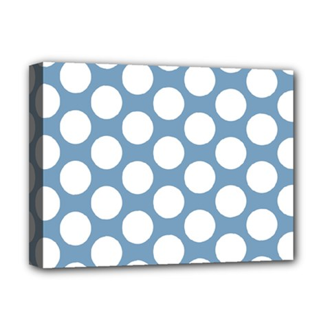 Blue Polkadot Deluxe Canvas 16  X 12  (framed)  by Zandiepants