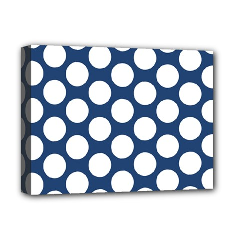 Dark Blue Polkadot Deluxe Canvas 16  X 12  (framed)  by Zandiepants