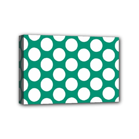 Emerald Green Polkadot Mini Canvas 6  x 4  (Framed)
