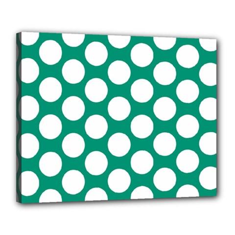Emerald Green Polkadot Canvas 20  X 16  (framed) by Zandiepants