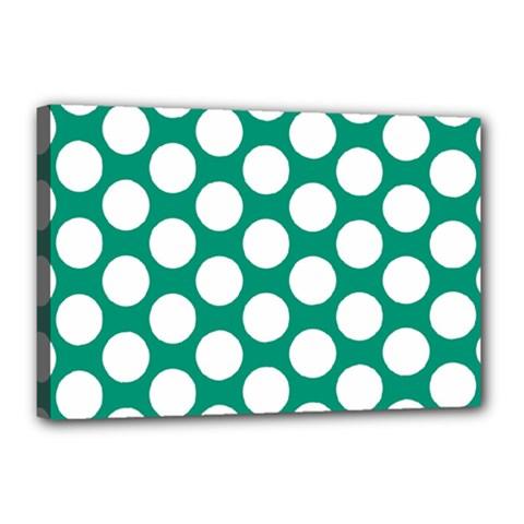 Emerald Green Polkadot Canvas 18  x 12  (Framed) by Zandiepants
