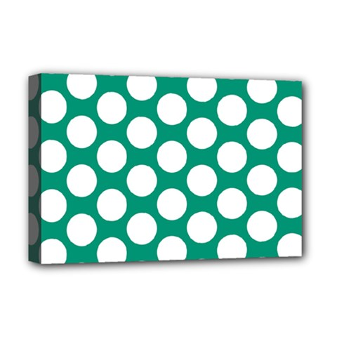 Emerald Green Polkadot Deluxe Canvas 18  X 12  (framed) by Zandiepants