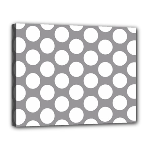 Grey Polkadot Canvas 14  X 11  (framed)