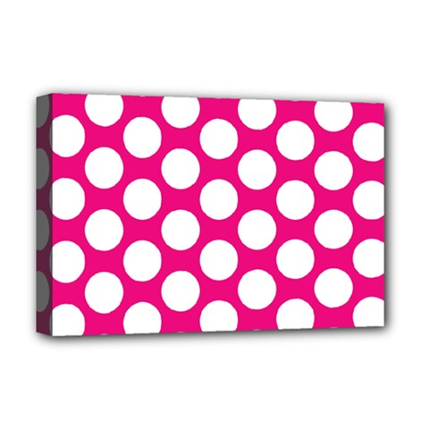 Pink Polkadot Deluxe Canvas 18  X 12  (framed) by Zandiepants