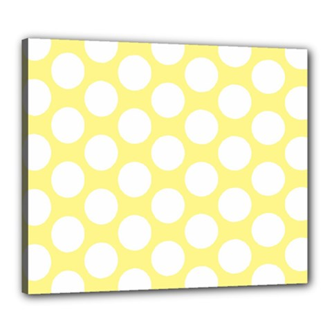Yellow Polkadot Canvas 24  x 20  (Framed) by Zandiepants