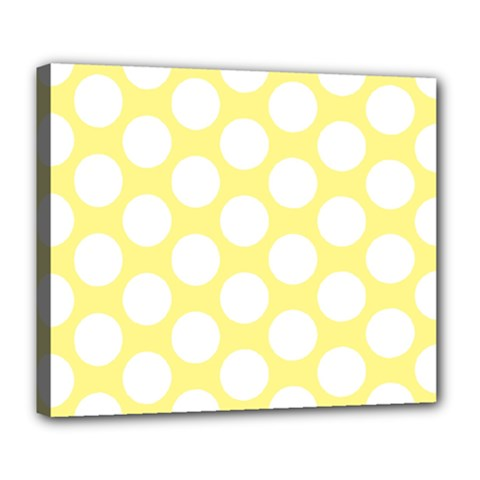 Yellow Polkadot Deluxe Canvas 24  X 20  (framed) by Zandiepants