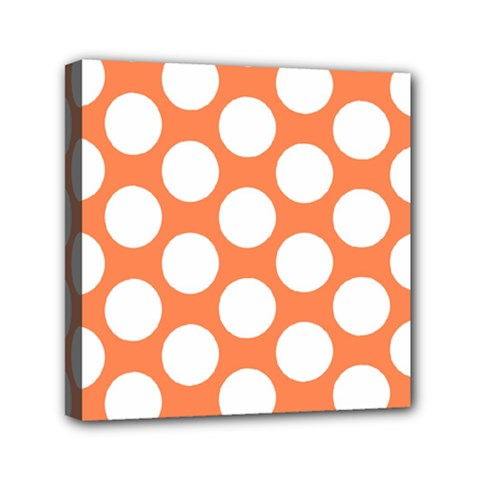 Orange Polkadot Mini Canvas 6  X 6  (framed) by Zandiepants