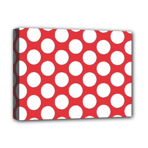 Red Polkadot Deluxe Canvas 16  X 12  (framed)  by Zandiepants