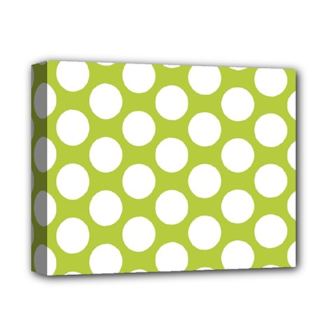 Spring Green Polkadot Deluxe Canvas 14  X 11  (framed) by Zandiepants