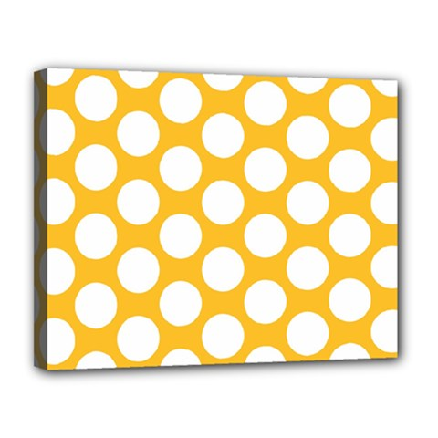 Sunny Yellow Polkadot Canvas 14  X 11  (framed) by Zandiepants