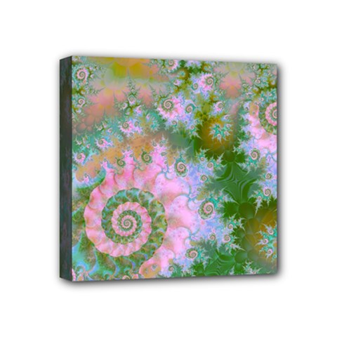 Rose Forest Green, Abstract Swirl Dance Mini Canvas 4  X 4  (framed) by DianeClancy