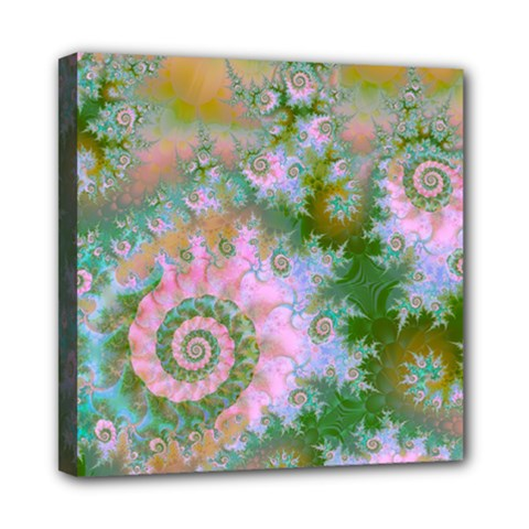 Rose Forest Green, Abstract Swirl Dance Mini Canvas 8  X 8  (framed) by DianeClancy