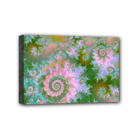 Rose Forest Green, Abstract Swirl Dance Mini Canvas 6  X 4  (framed) by DianeClancy