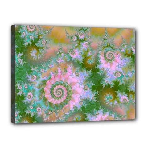 Rose Forest Green, Abstract Swirl Dance Canvas 16  X 12  (framed) by DianeClancy