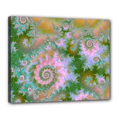 Rose Forest Green, Abstract Swirl Dance Canvas 20  X 16  (framed) by DianeClancy