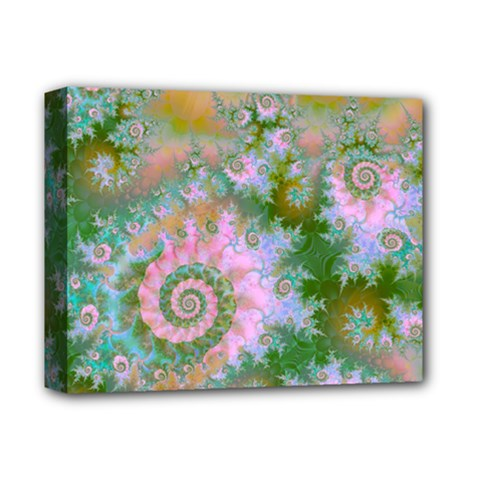 Rose Forest Green, Abstract Swirl Dance Deluxe Canvas 14  X 11  (framed) by DianeClancy
