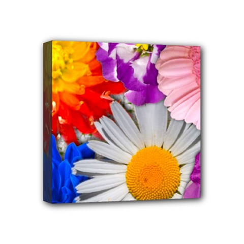 Lovely Flowers, Blue Mini Canvas 4  X 4  (framed) by ImpressiveMoments