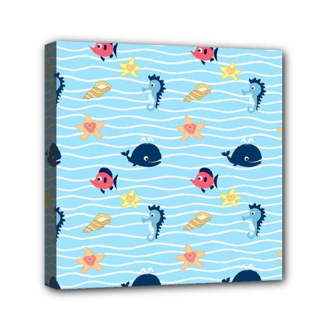 Fun Fish Of The Ocean Mini Canvas 6  X 6  (framed) by StuffOrSomething