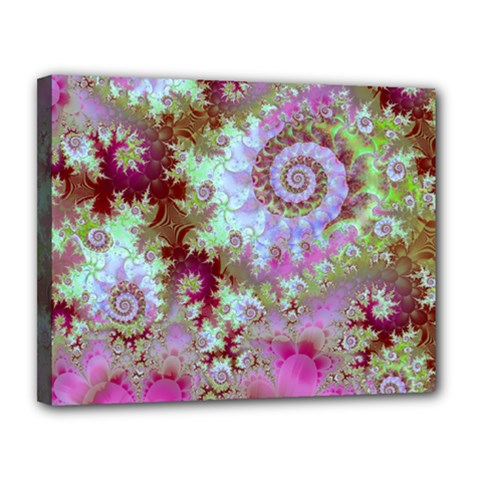 Raspberry Lime Delight, Abstract Ferris Wheel Canvas 14  X 11  (stretched) by DianeClancy