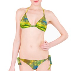 Golden Days, Abstract Yellow Azure Tranquility Bikini by DianeClancy