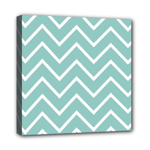 Blue And White Chevron Mini Canvas 8  X 8  (framed) by zenandchic
