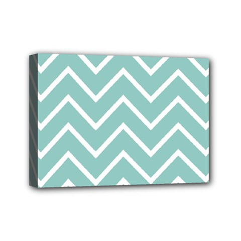 Blue And White Chevron Mini Canvas 7  X 5  (framed) by zenandchic
