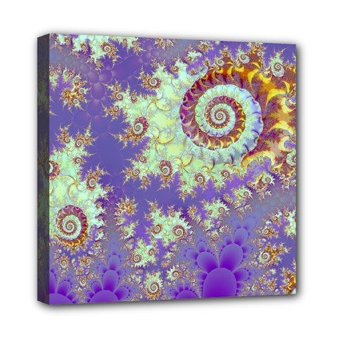 Sea Shell Spiral, Abstract Violet Cyan Stars Mini Canvas 8  X 8  (framed) by DianeClancy