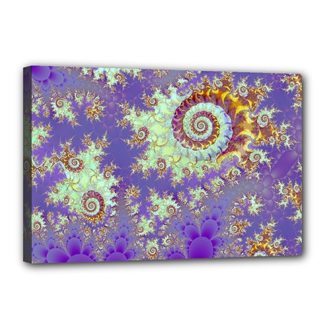 Sea Shell Spiral, Abstract Violet Cyan Stars Canvas 18  X 12  (framed) by DianeClancy