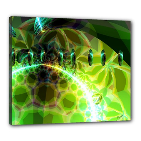 Dawn Of Time, Abstract Lime & Gold Emerge Canvas 24  X 20  (framed) by DianeClancy