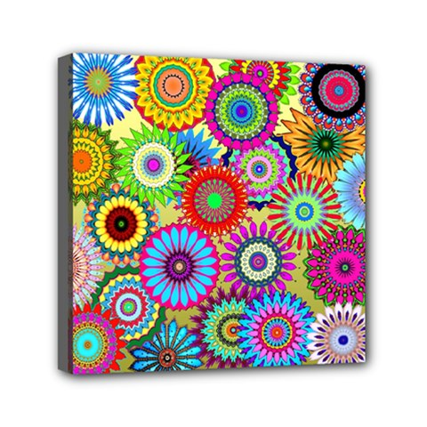 Psychedelic Flowers Mini Canvas 6  X 6  (framed) by StuffOrSomething