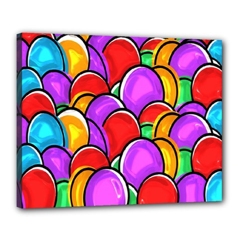 Colored Easter Eggs Canvas 20  X 16  (framed) by StuffOrSomething