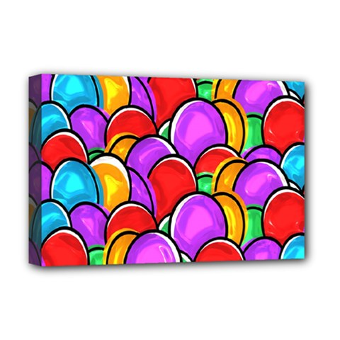 Colored Easter Eggs Deluxe Canvas 18  X 12  (framed) by StuffOrSomething