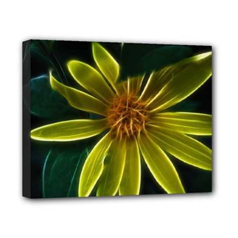 Yellow Wildflower Abstract Canvas 10  X 8  (framed) by bloomingvinedesign