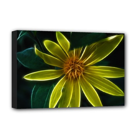 Yellow Wildflower Abstract Deluxe Canvas 18  X 12  (framed) by bloomingvinedesign