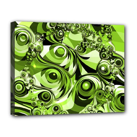 Retro Green Abstract Canvas 14  X 11  (framed) by StuffOrSomething
