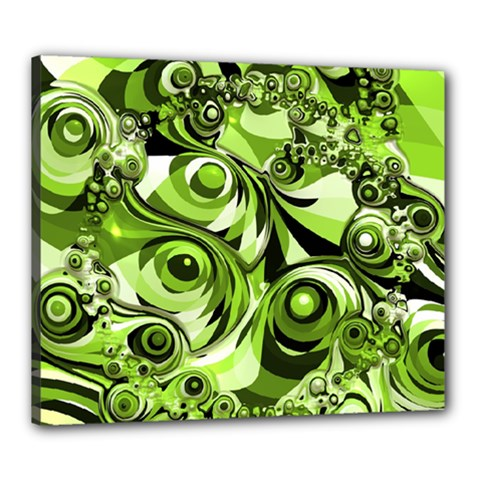 Retro Green Abstract Canvas 24  X 20  (framed) by StuffOrSomething