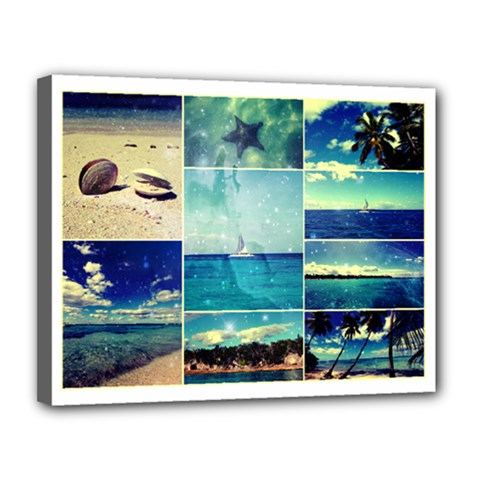 Starry Starry Caribbean Collage Canvas 14  X 11  (framed) by stineshop
