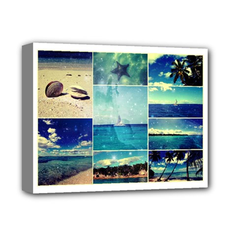 Starry Starry Caribbean Collage Deluxe Canvas 14  X 11  (framed) by stineshop