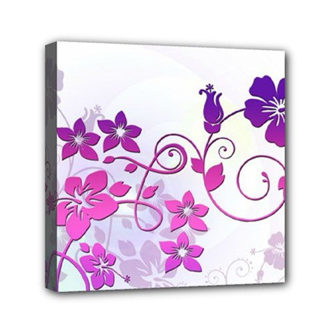Floral Garden Mini Canvas 6  X 6  (framed) by Colorfulart23