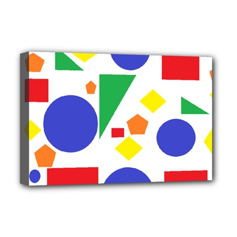 Random Geometrics Deluxe Canvas 18  X 12  (framed) by StuffOrSomething