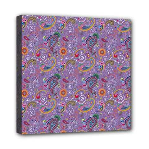 Purple Paisley Mini Canvas 8  X 8  (framed) by StuffOrSomething
