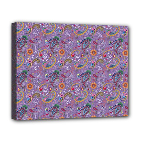 Purple Paisley Deluxe Canvas 20  X 16  (framed) by StuffOrSomething